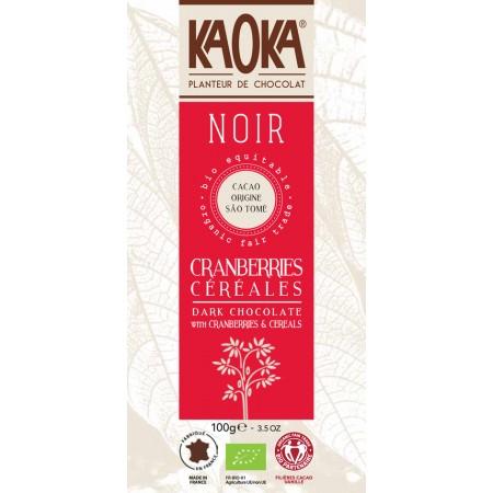 Bio horká čokoláda Brusnica-lupienky KAOKA 100 g