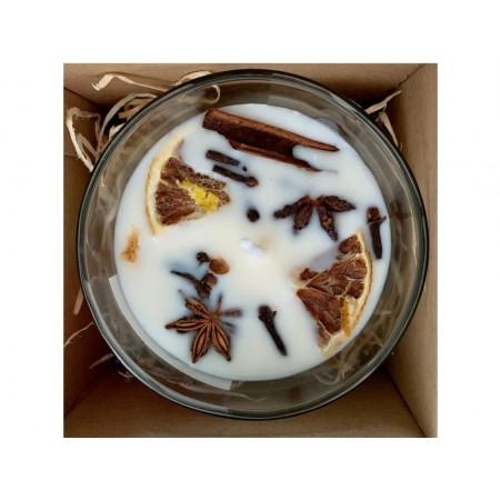 Vôňa Vianoc - Vianočná sójová sviečka s vôňou pomaranča,klinčekov,badánu,škorice